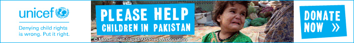 Please help by donating to the UNICEF Pakistan appeal