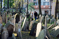 The old Jewish cemetery in Prague  click to enlarge  file size